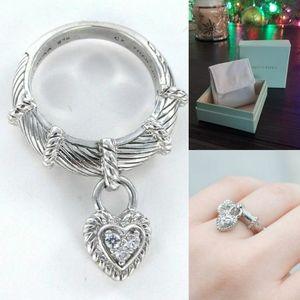 925 Sterling Silver Judith Ripka Dangle Heart Ring